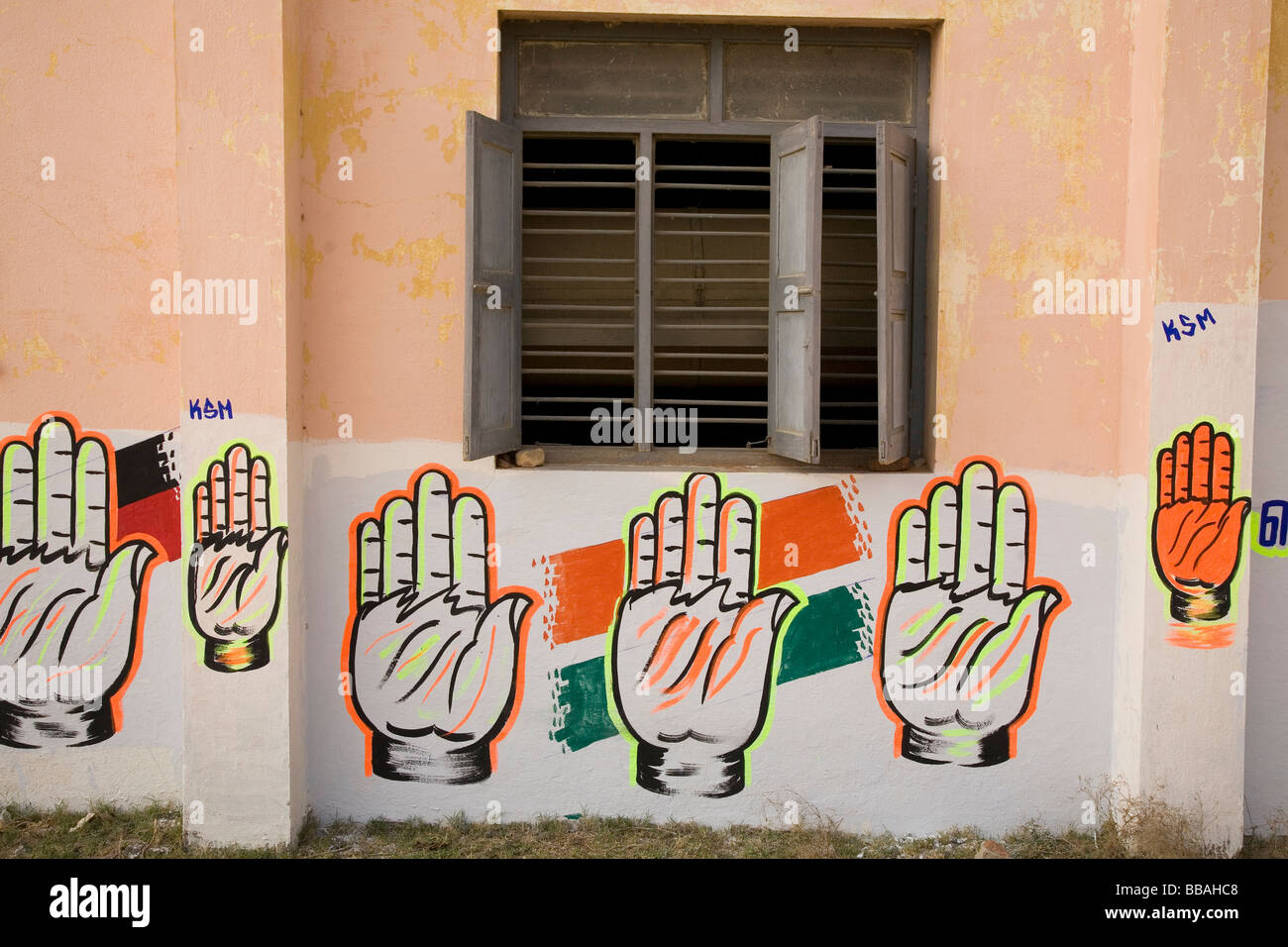 A Wall Bears Political Symbols In Gingee In Tamil Nadu India Here