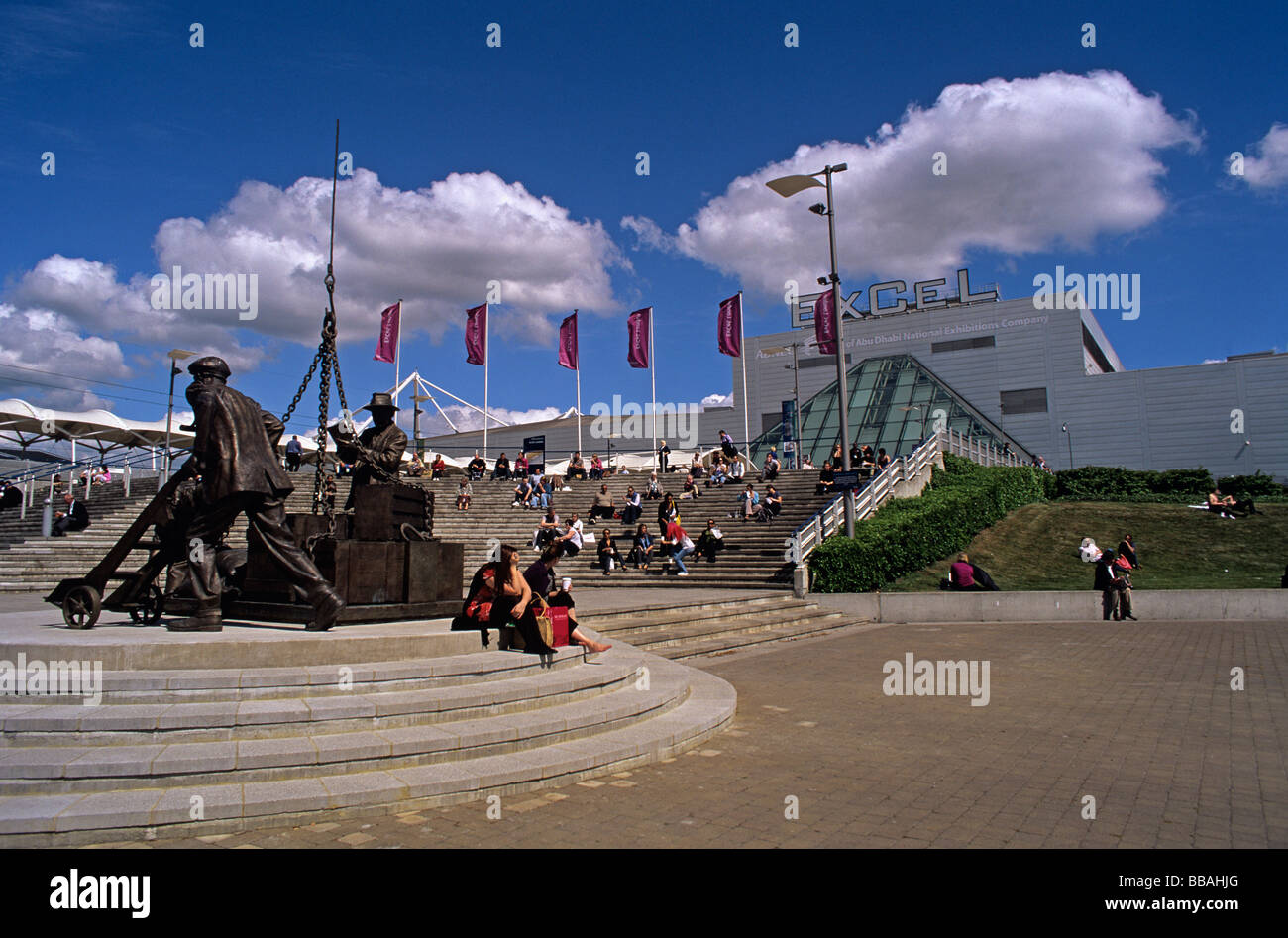 Huge exhibition centre in East London Docklands built on the north side of the former Royal Victoria Docks - Stock Image