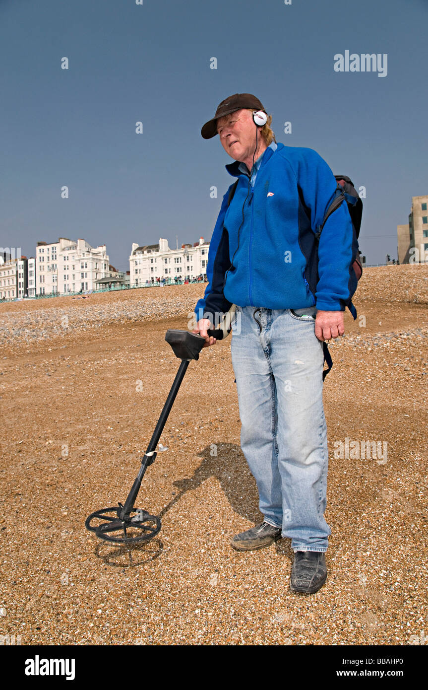 Jew Detector: A Metal Detecting Man On Brighton Beach Trying To Find