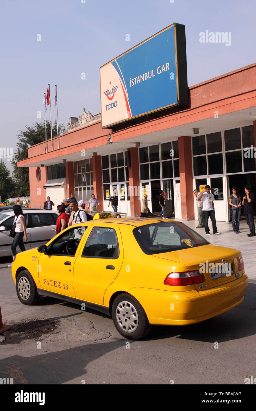 Istanbul Turkey yellow taxi cab outside the Sirkeci train railway station - Stock Image