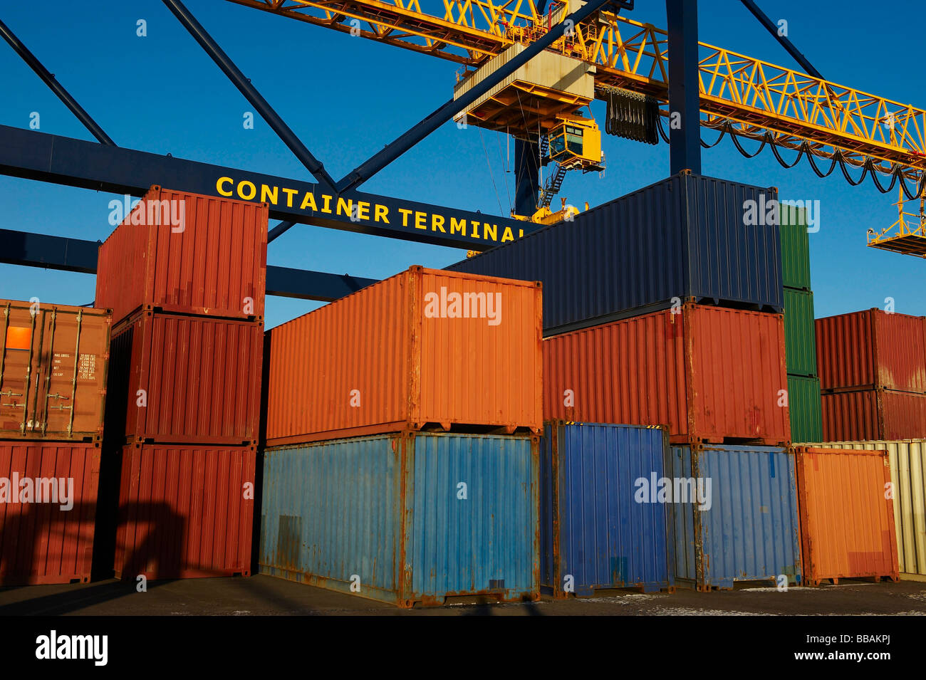 Containers in stacks at port Stock Photo