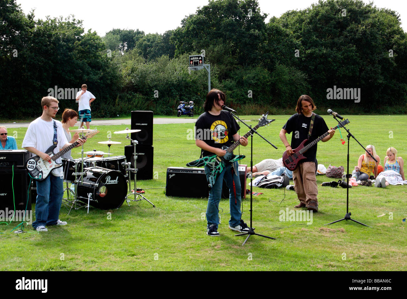 young rock band at a fun day in polegate east sussex england - Stock Image