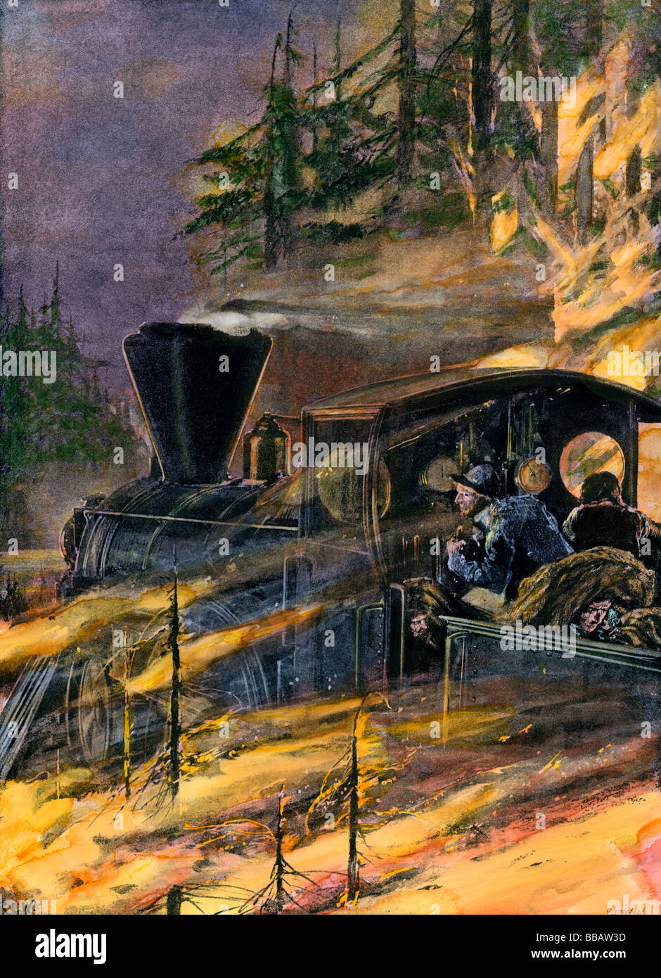 Railroad train racing through a forest fire in the American West 1890s. Hand-colored halftone of an illustration - Stock Image
