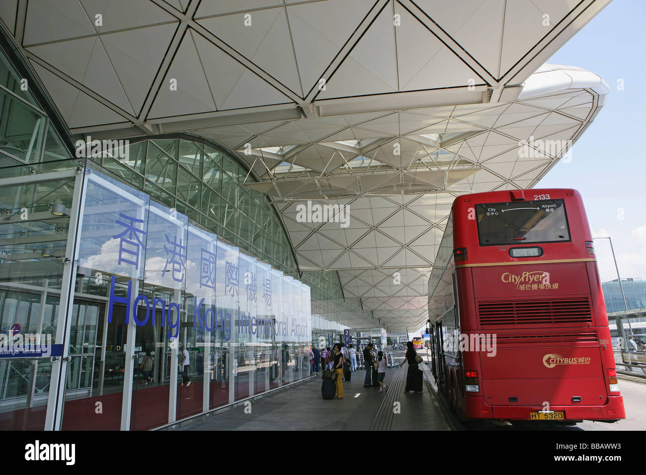 Shuttle bus at Hong Kong International Airport, Hong Kong - Stock Image