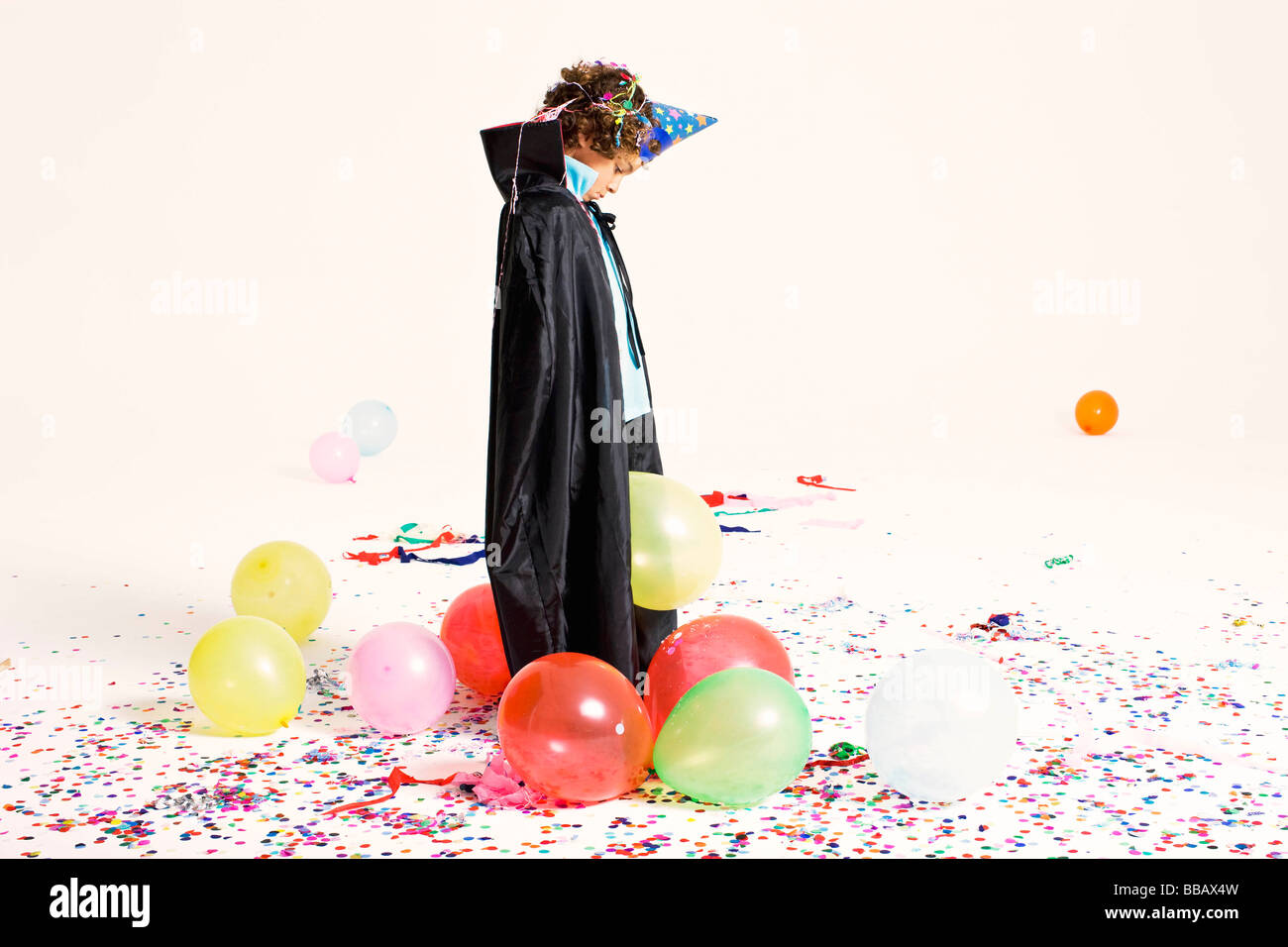 sad boy in party costume - Stock Image