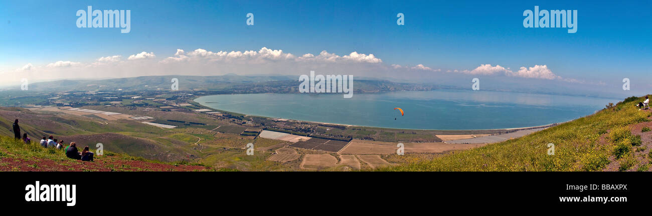 Israel Golan Heights Panoramic view towards the Sea of Galilee April 2009 - Stock Image