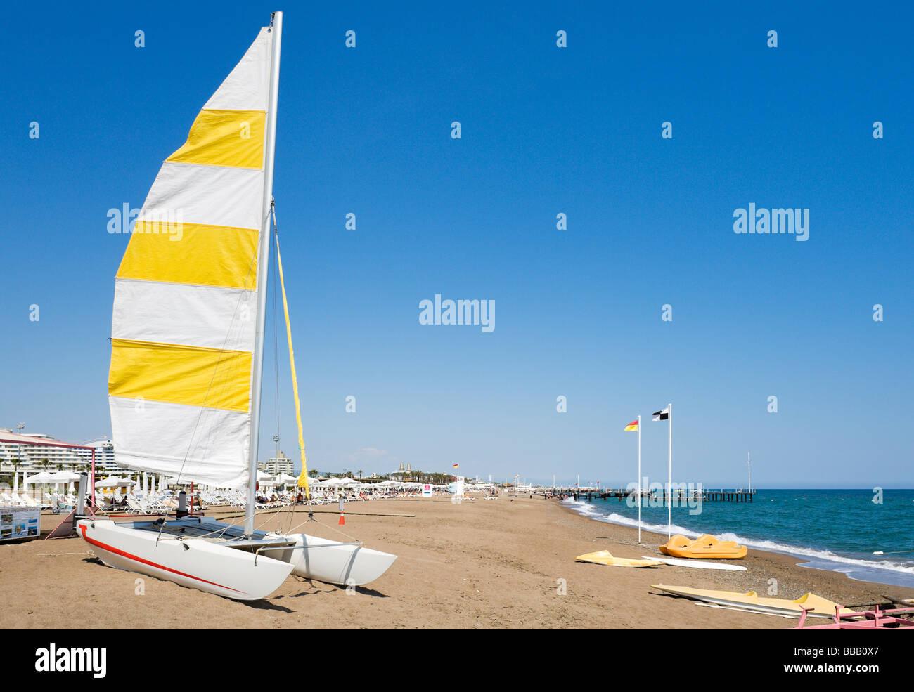 Watersports outside the Barut Lara Hotel, Lara Beach, near Antalya, Mediterranean Coast, Turkey - Stock Image