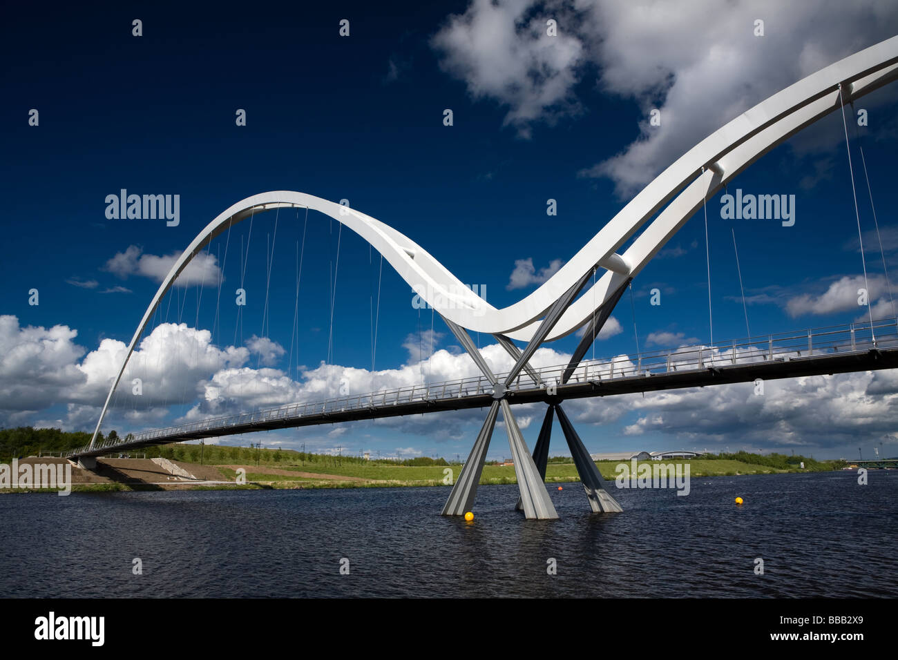 The Infinity Bridge over the River Tees Stockton on Tees Cleveland England - Stock Image