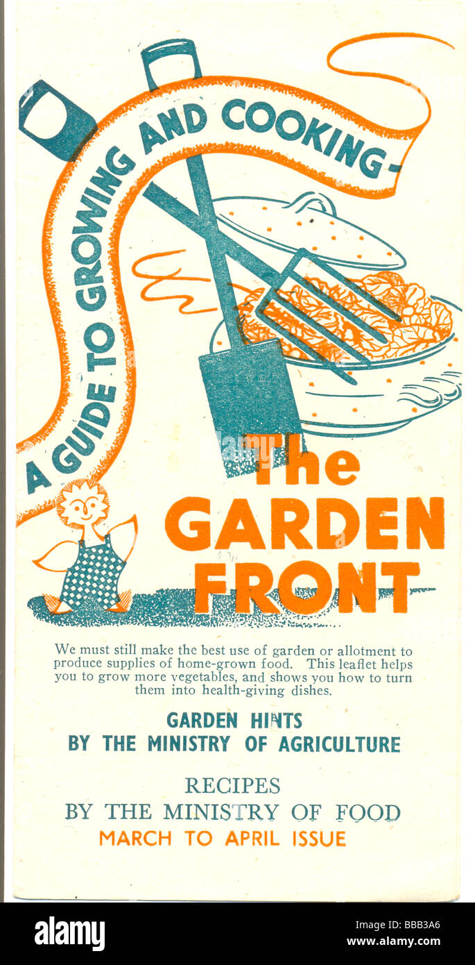 World War 2 leaflet titled The Garden Front published by the Ministry of Agriculture circa 1944 - Stock Image
