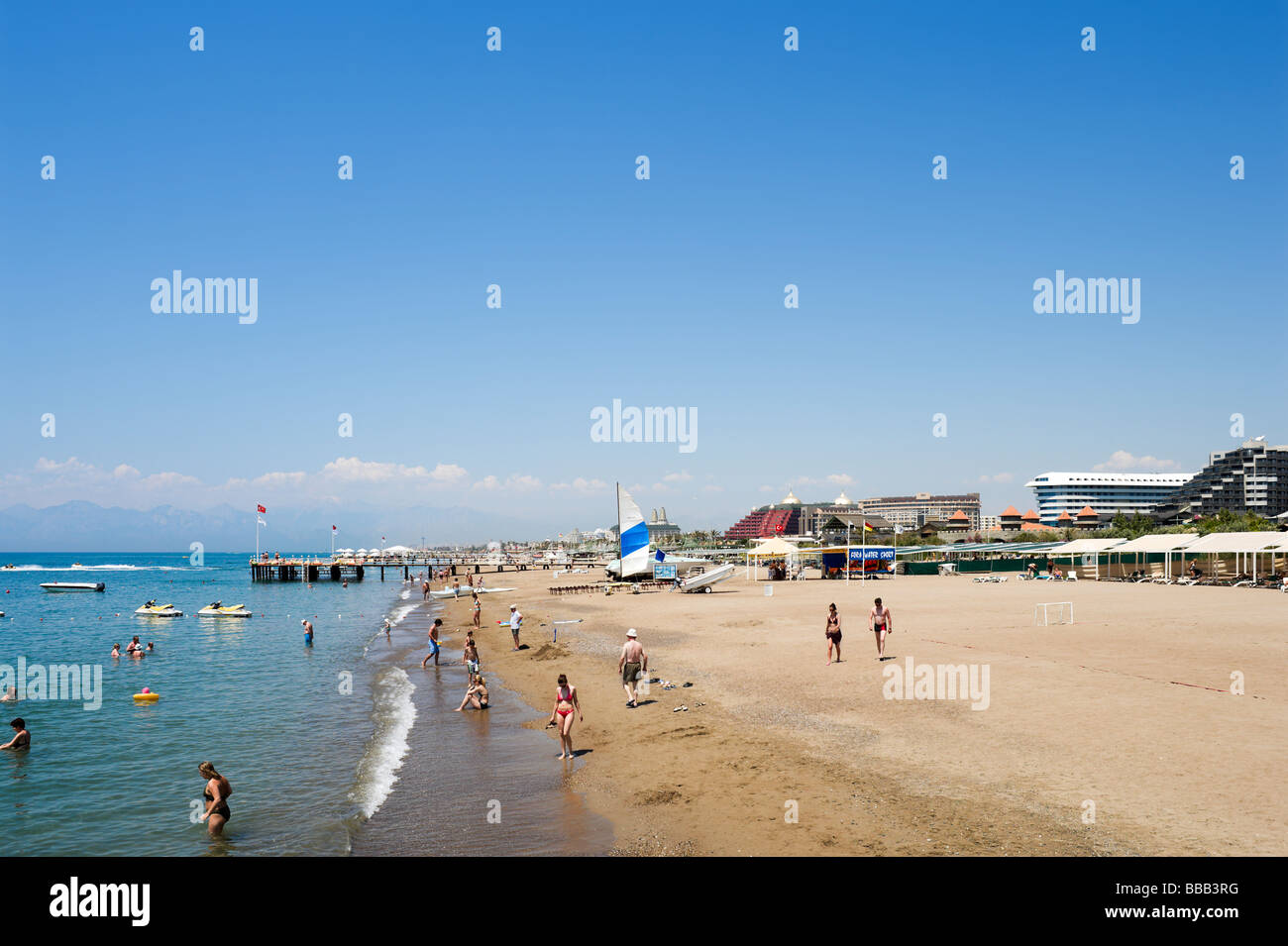 Beach outside the Royal Wings Hotel, Lara Beach, near Antalya, Mediterranean Coast, Turkey - Stock Image