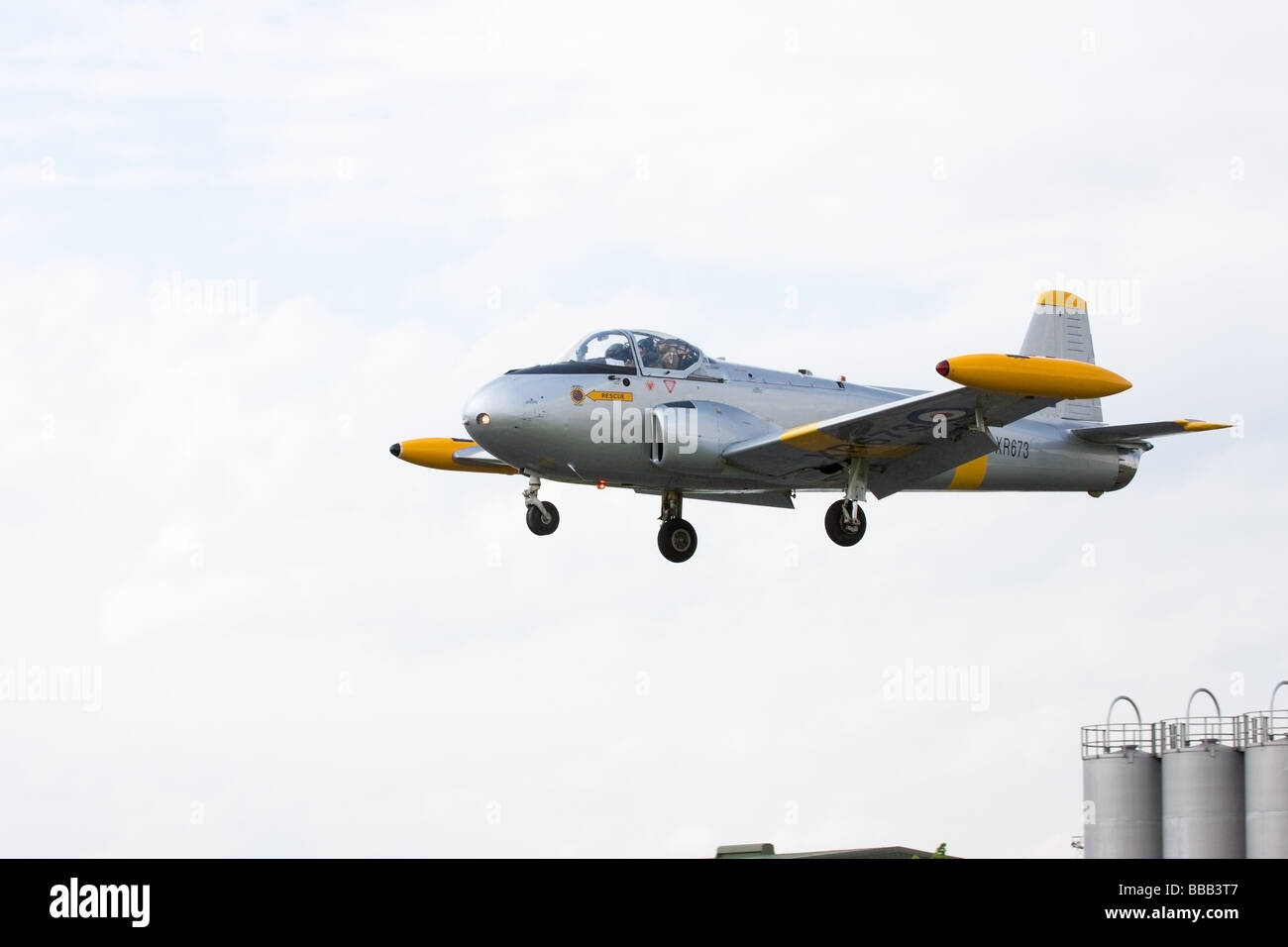 British Aerospace (Percival) P84 Jet Provost T4 XR763 G-BXLO in flight on approach to land at Sandtoft Airfield - Stock Image