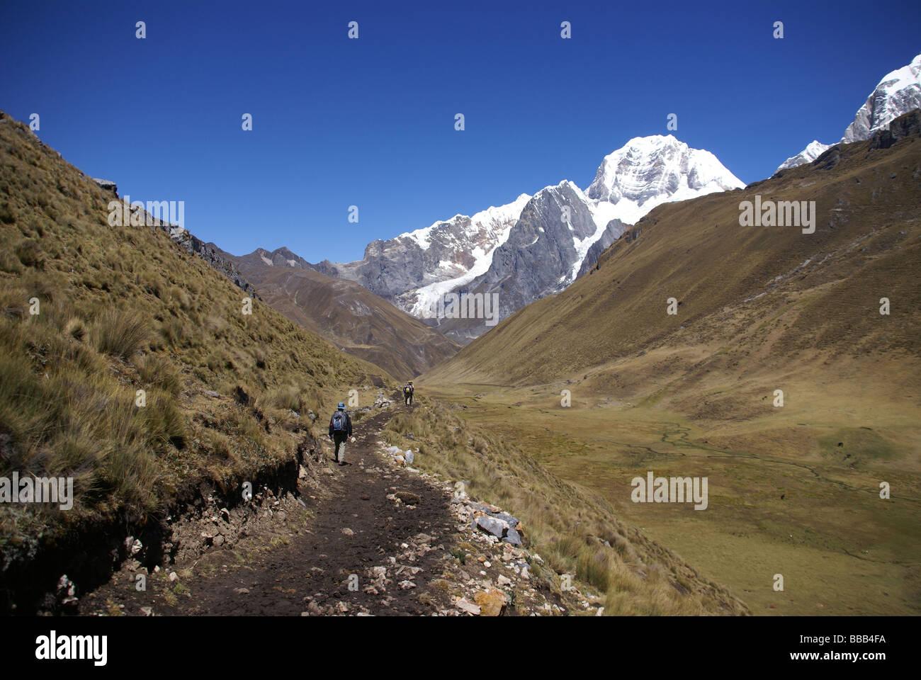 Siula mountain in high Andes Cordillera Huayhuash Andes Peru South America - Stock Image