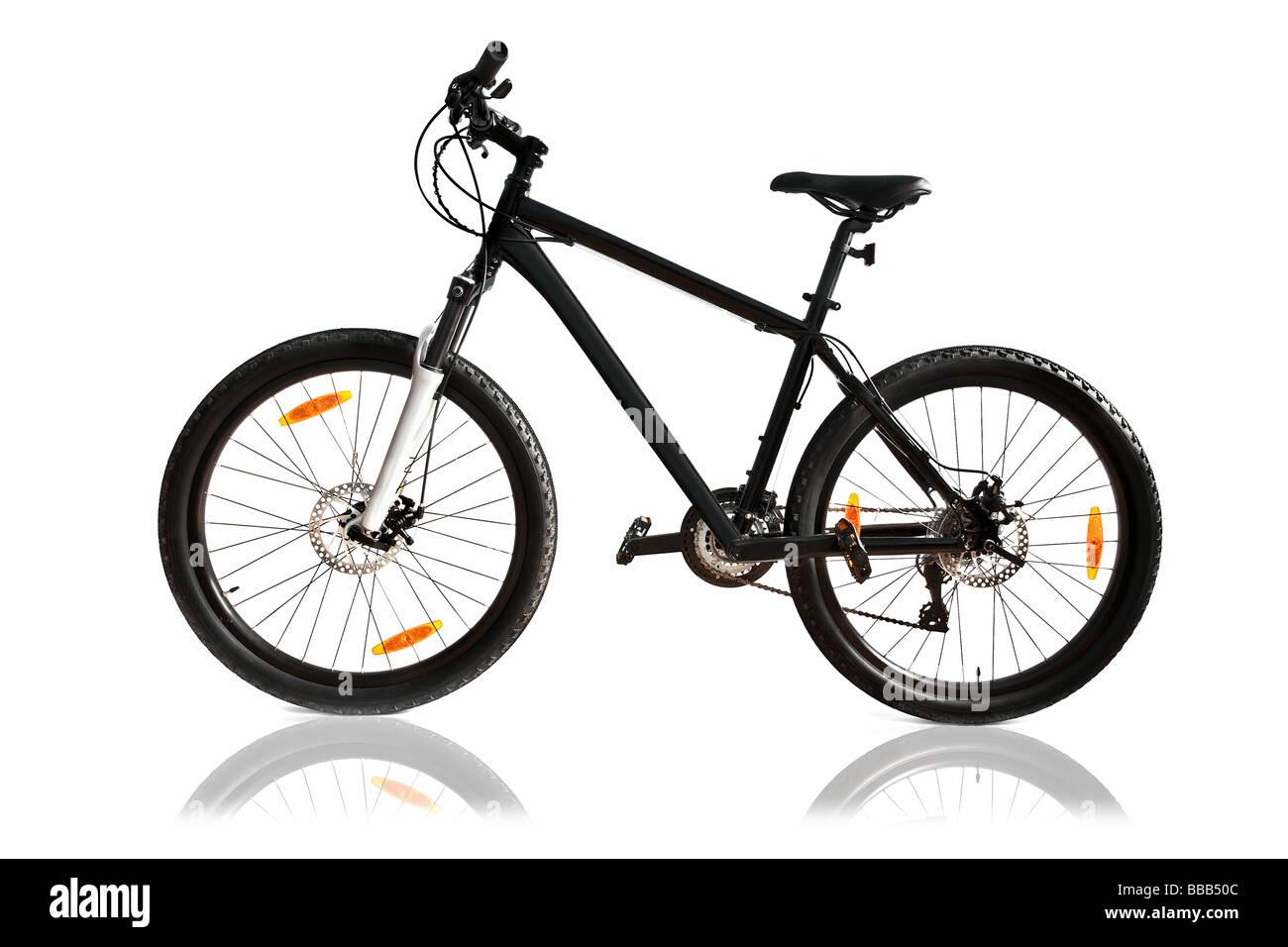 black bike isolated - Stock Image