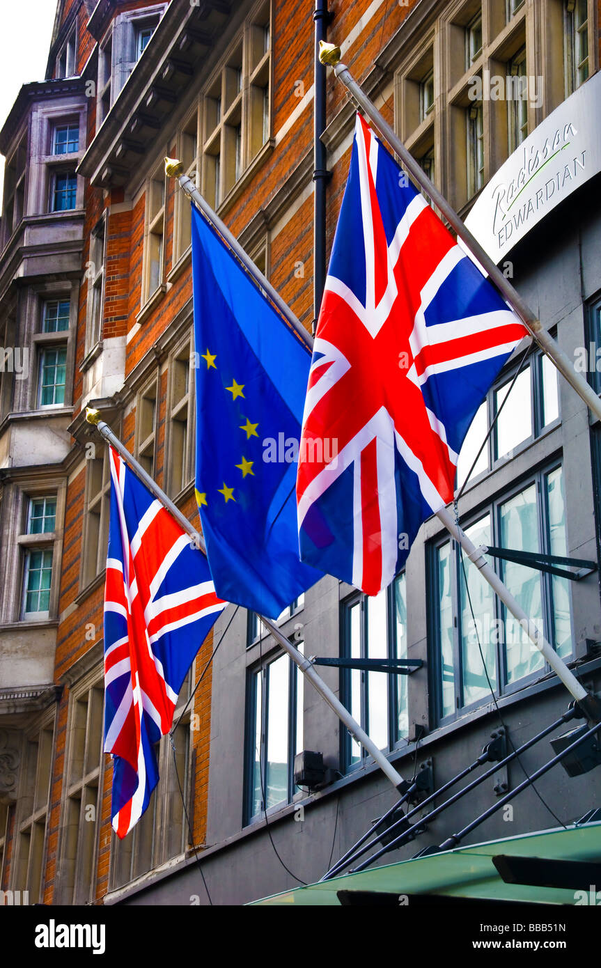 british and european union flags flying together - Stock Image