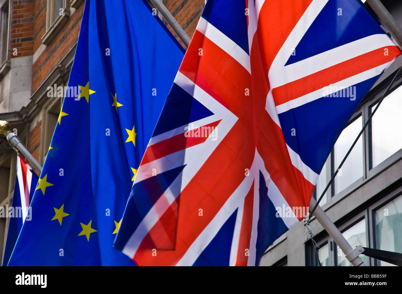 british and european union flags flying together Stock Photo