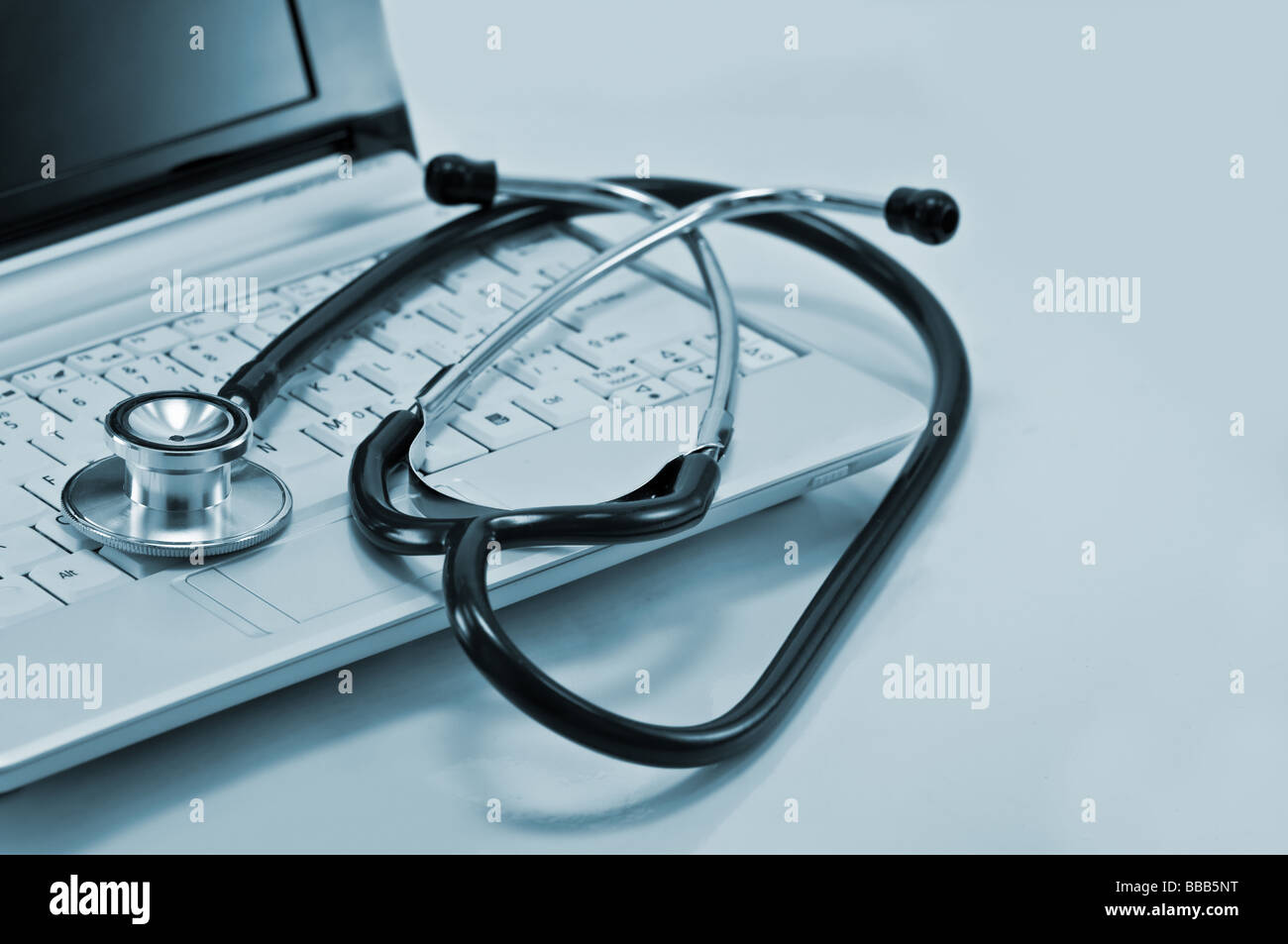 computer and stethoscope - Stock Image