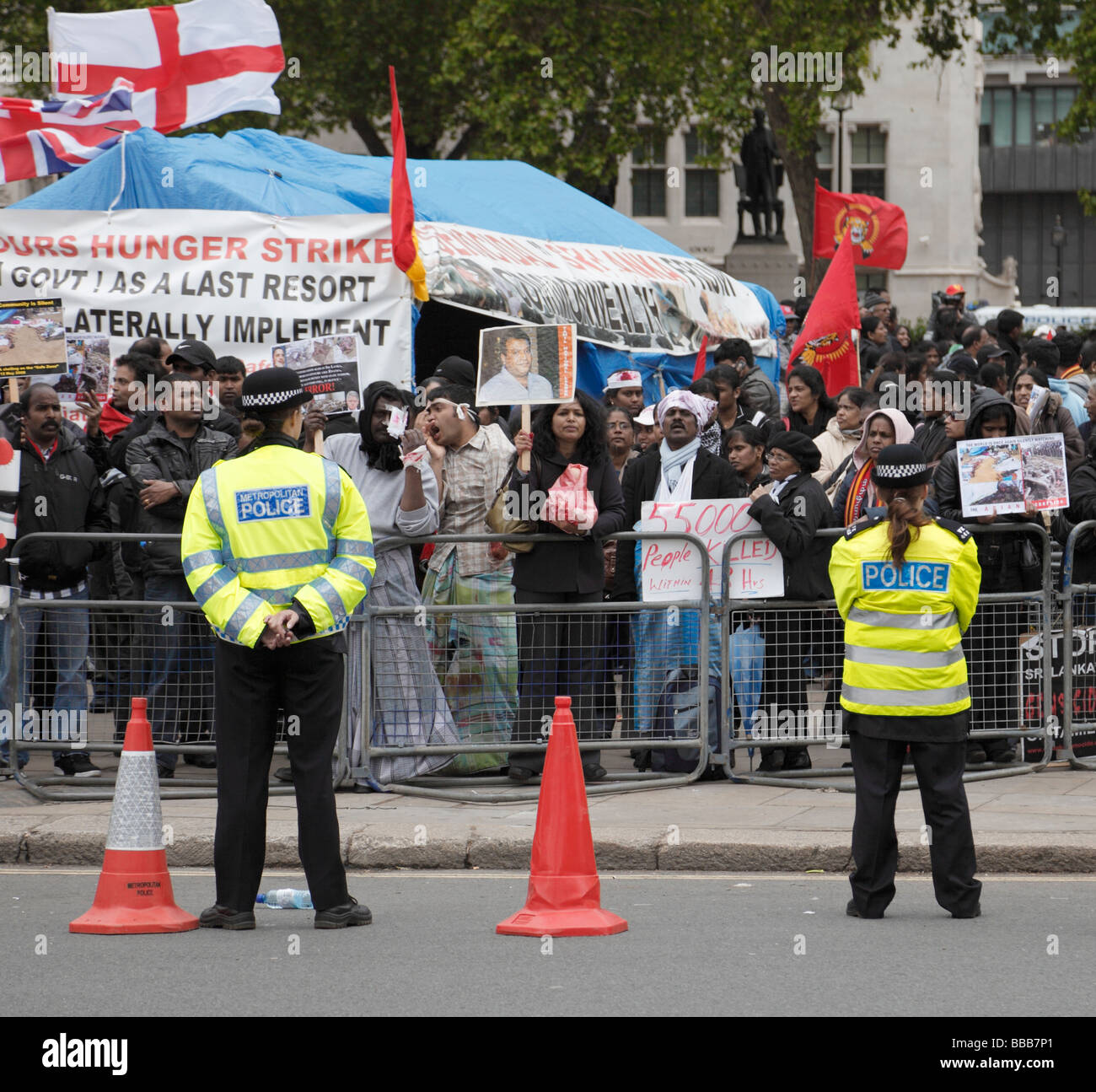 Policing of Tamil protesters demonstrating over the fighting in Sri Lanka. Outside Parliament, London, England, - Stock Image