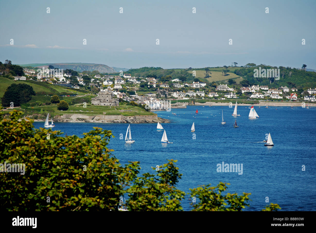 a view over the carrick roads looking towards st.mawes and falmouth bay from pendennis castle,falmouth,cornwall,uk - Stock Image