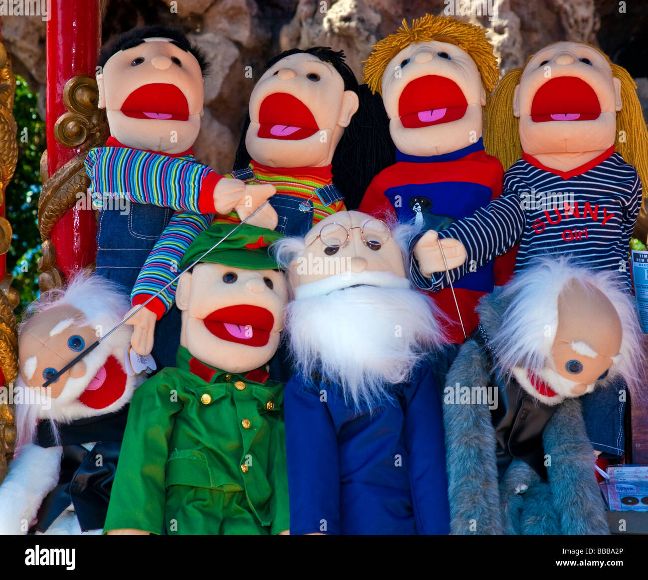 Mexico puppets for sale at Mexican flee market - Stock Image