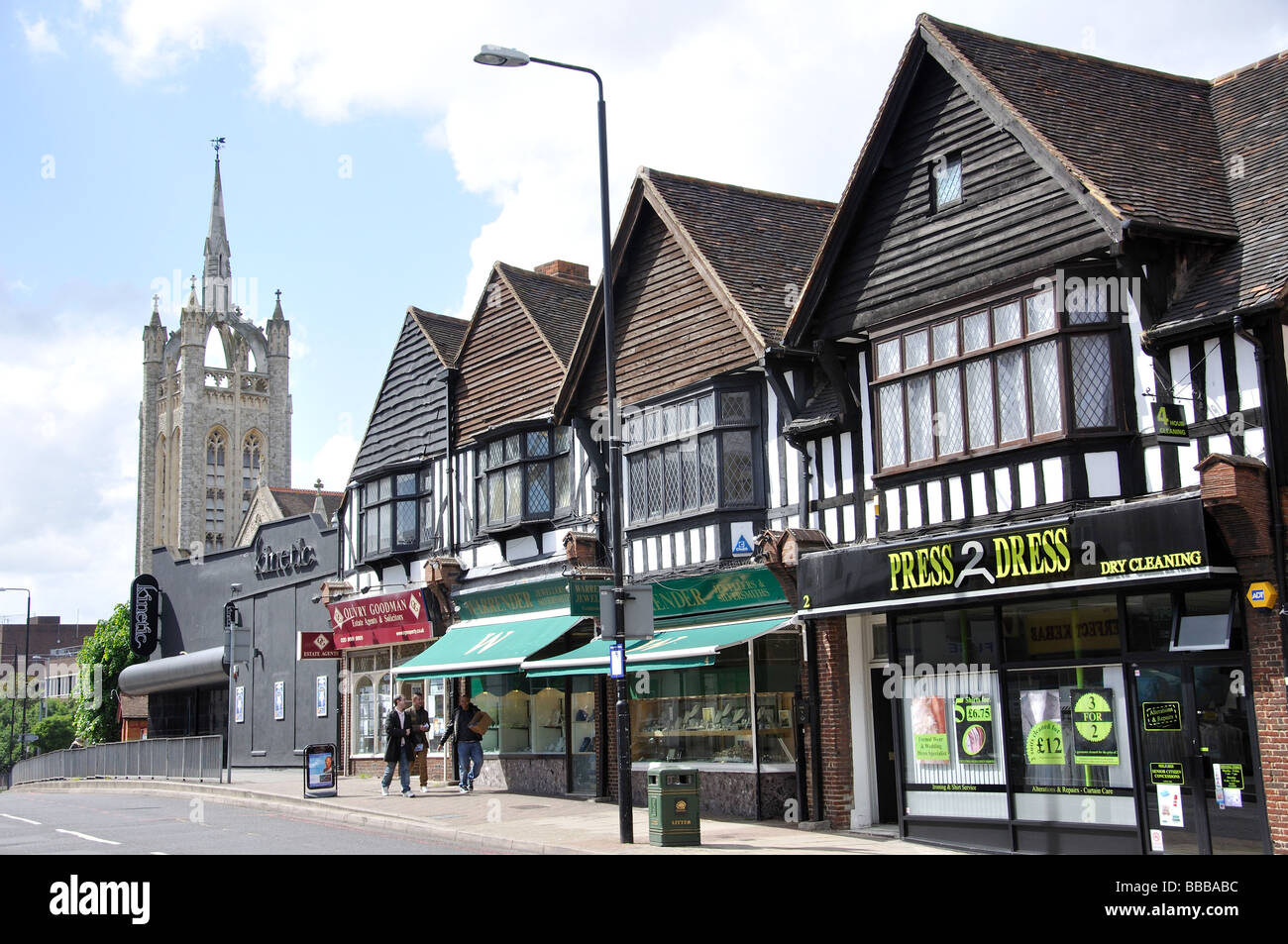 Trinity Church and shops on Cheam Road, Sutton, London Borough of Sutton, Greater London, England, United Kingdom - Stock Image