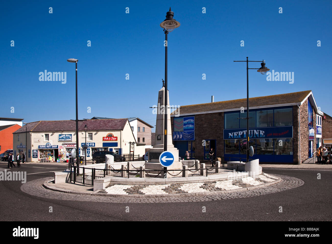 Seahouses traditional fishing village on the Northumberland Coast - Stock Image