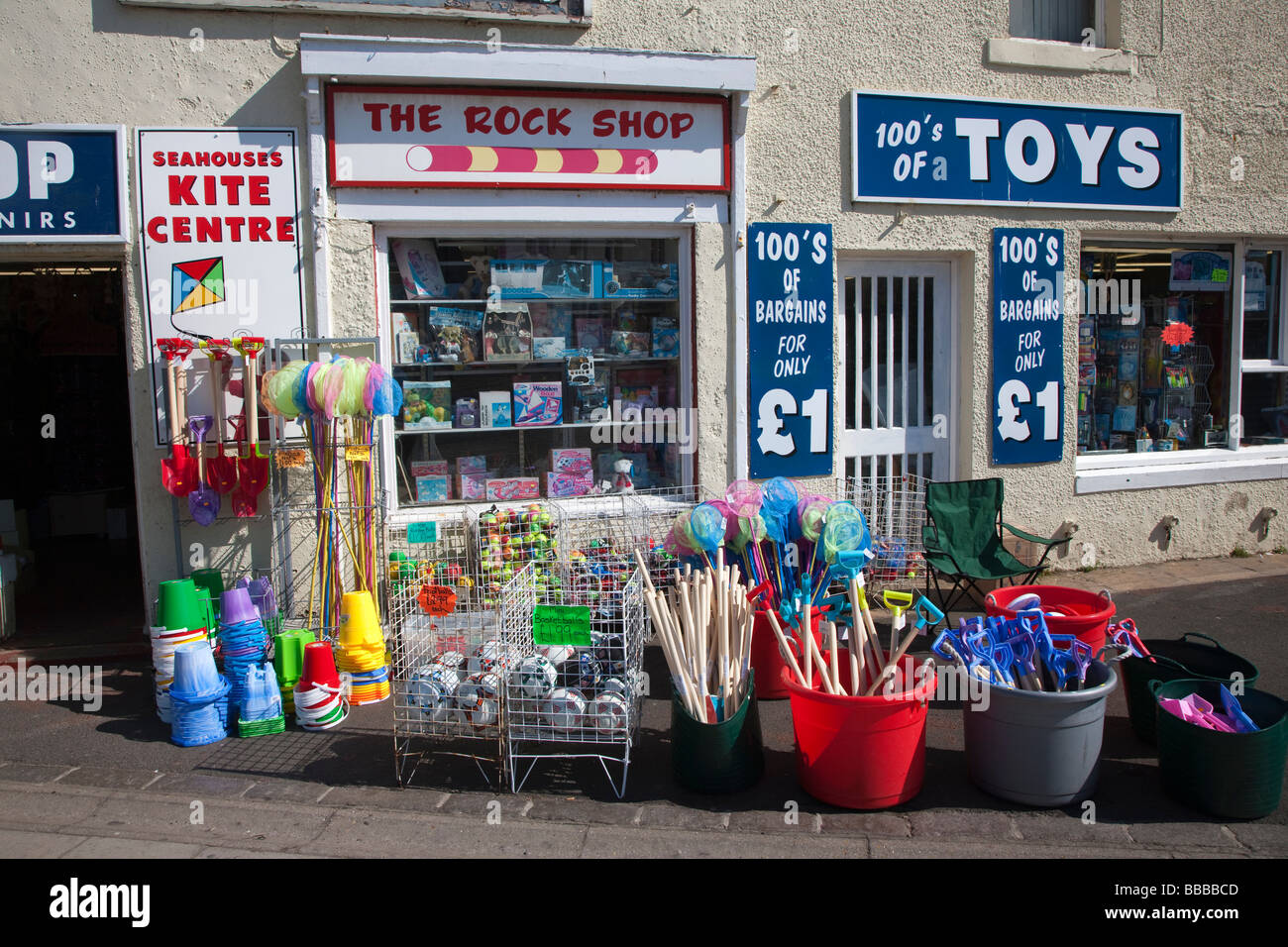 Rock Shop and Toy Seahouses Northumberland Coast - Stock Image