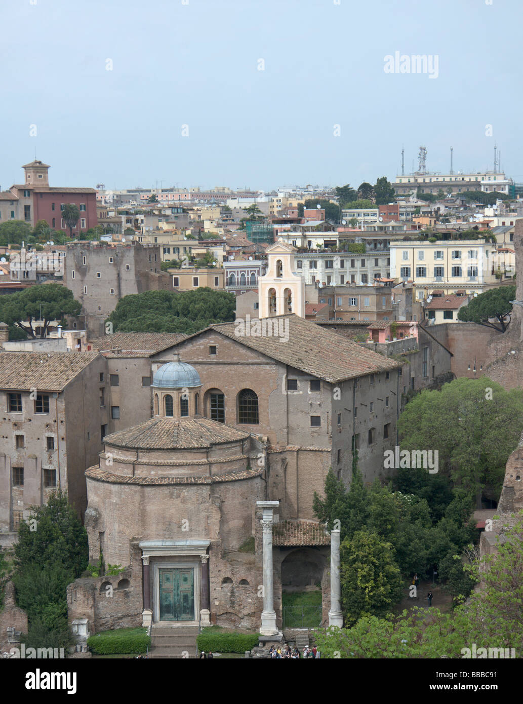 Rome, Italy. Temple Romulus the Divine in the Roman Forum, now part of church Santi Cosma e Damiano. - Stock Image