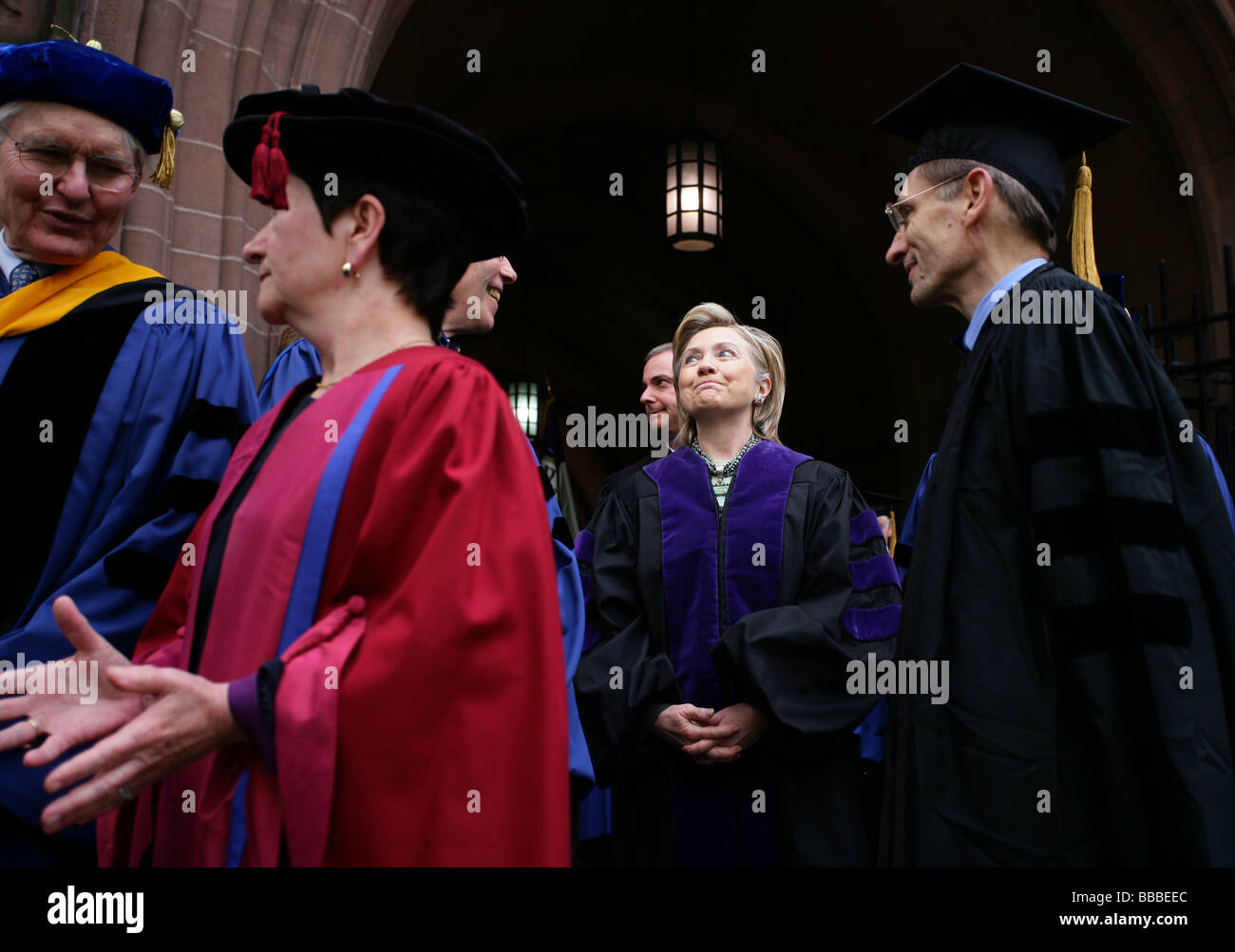 Secretary of State Hillary Rodham Clinton talks with Yale Faculty members before receiving an honorary degree from - Stock Image