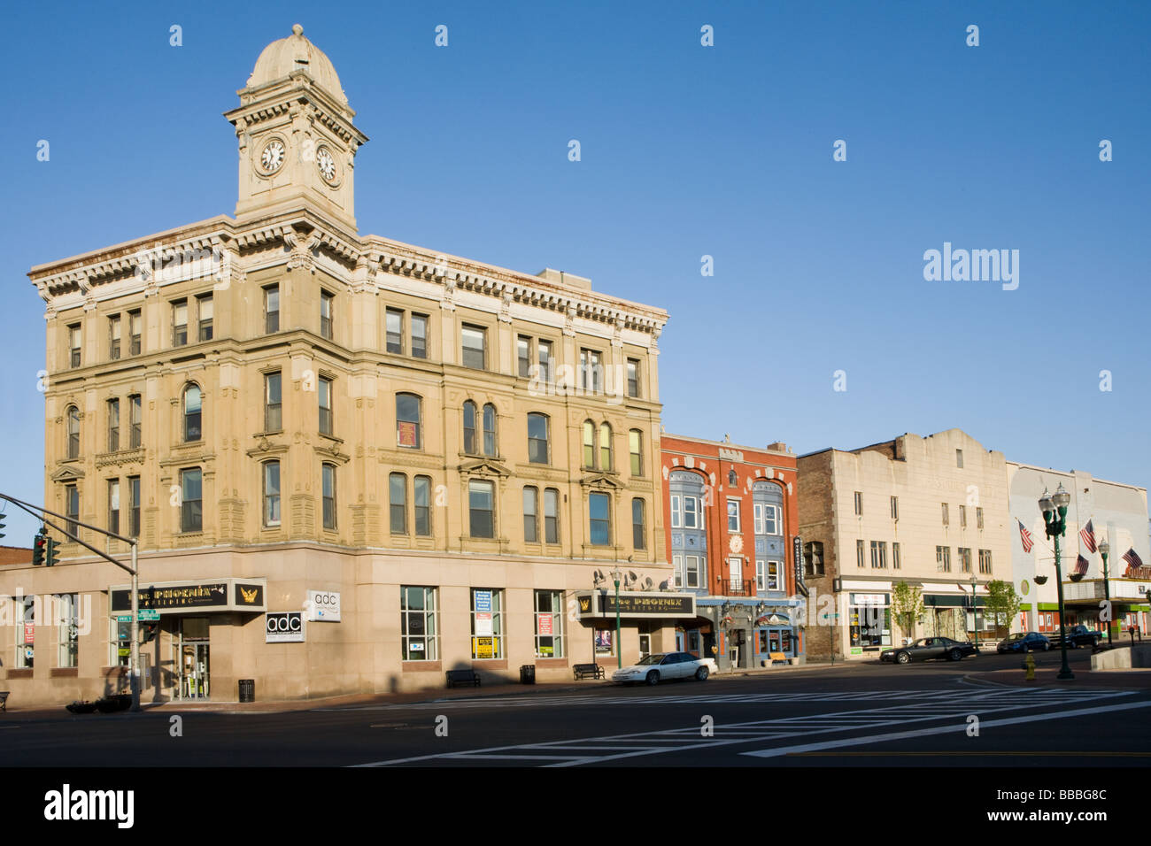 Impressive architecture Phoenix Building Auburn New York Cayuga County Finger Lakes Region - Stock Image