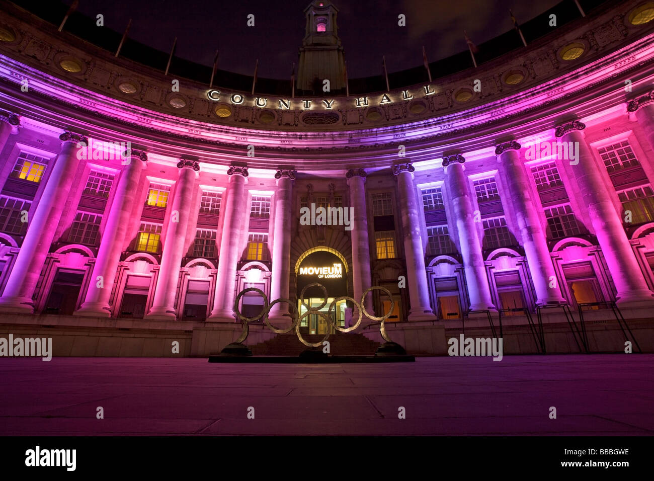London County Hall, LCH showing different color of lights, City of London, United Kingdom - Stock Image
