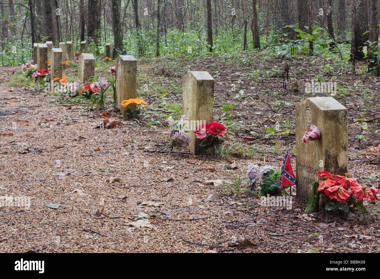 Natchez Trace Parkway, Mile 269, near Tupelo, Mississippi, USA.  Gravestones for Unknown Confederate Soldiers. - Stock Image