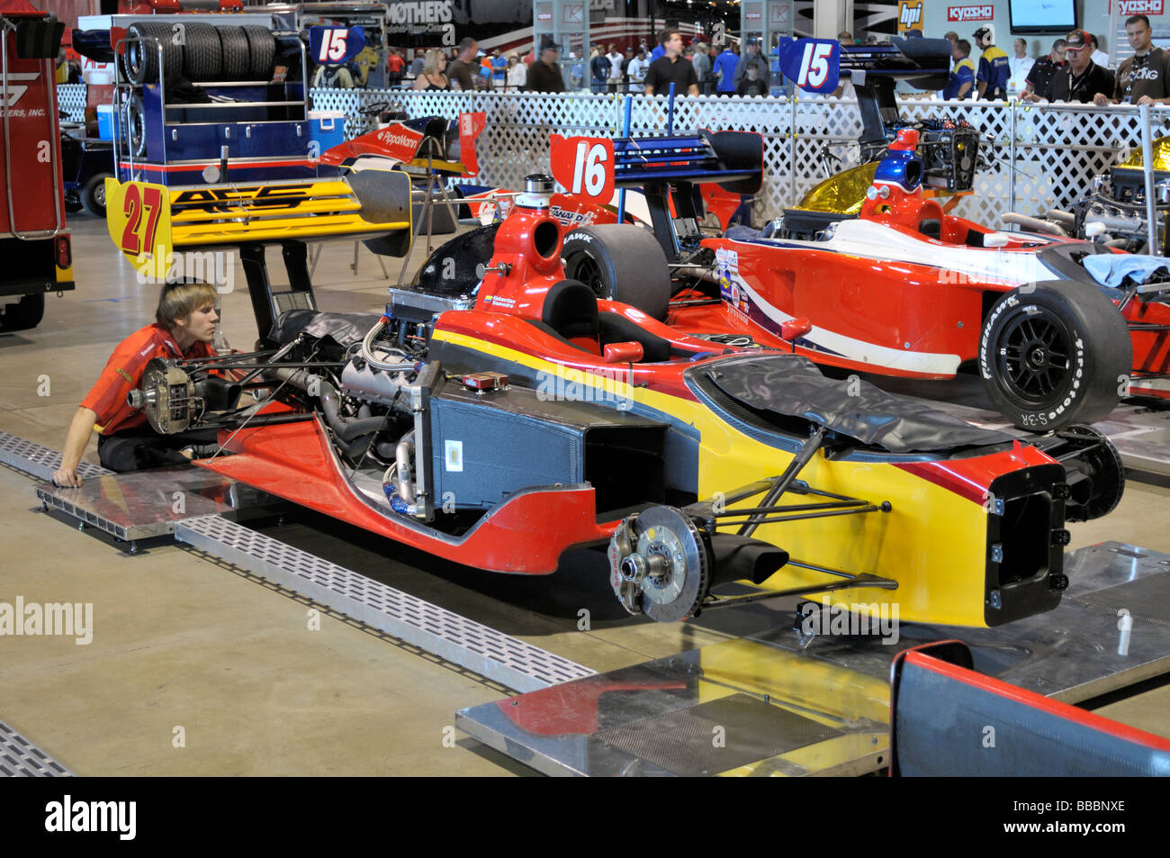 Colorful Indy race car partially disassembled - Stock Image