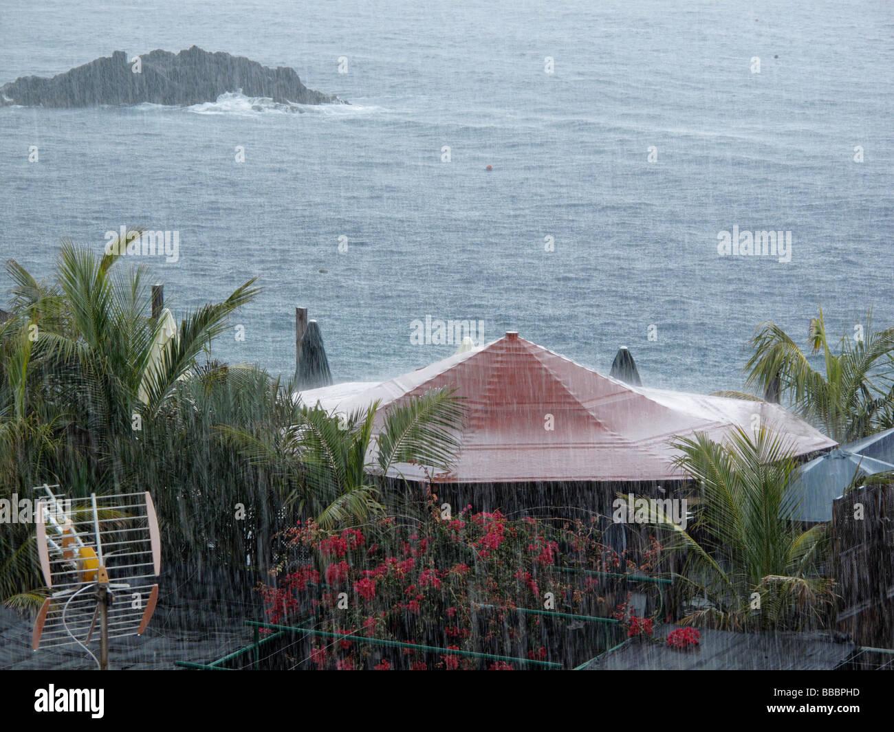 Heavy rainfall, La Bombilla, La Palma, Canary Islands, Spain - Stock Image
