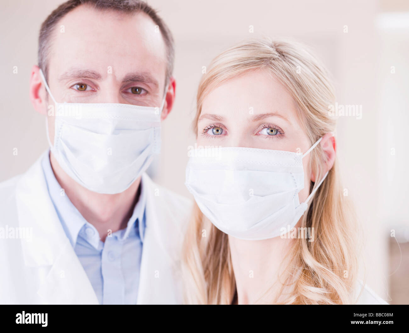 two medics looking at viewer - Stock Image