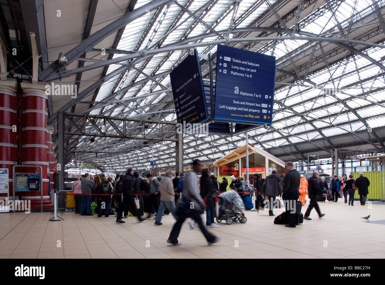 Liverpool Lime Street Station With Busy Rushing People