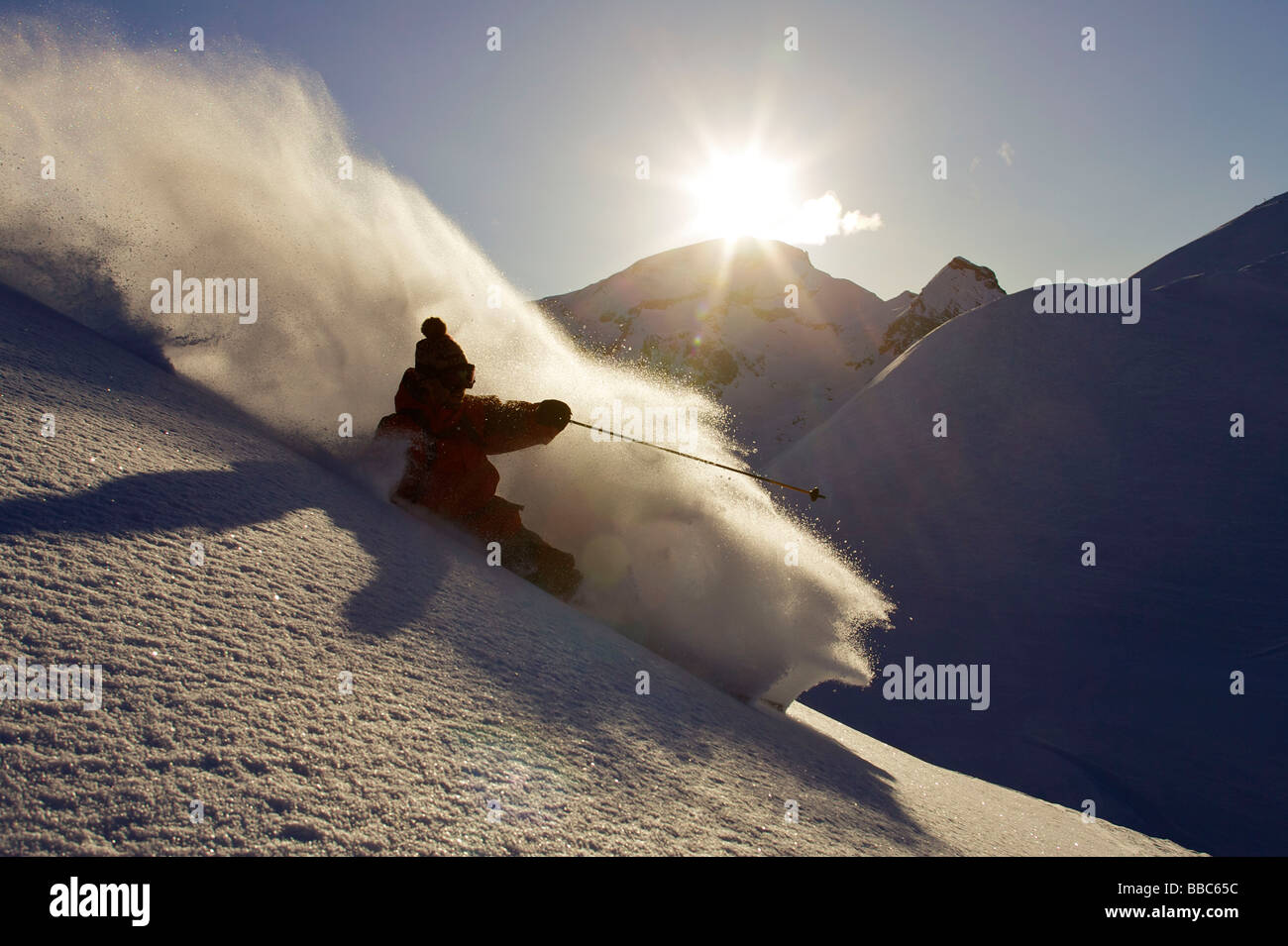 Skier turning off piste. - Stock Image