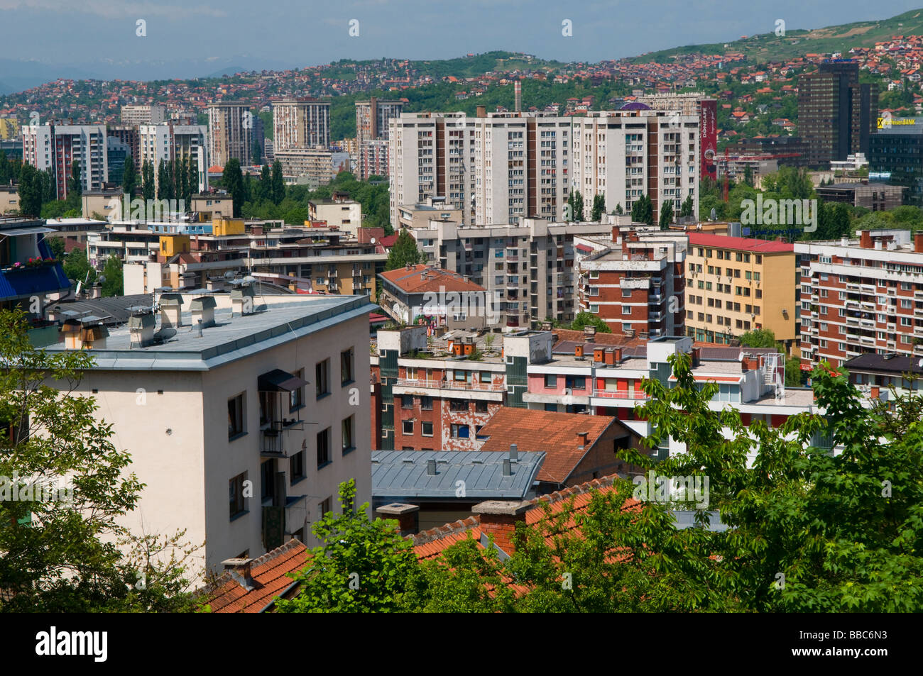 View of residential buildings in the city of Sarajevo capital of Bosnia Herzegovina - Stock Image