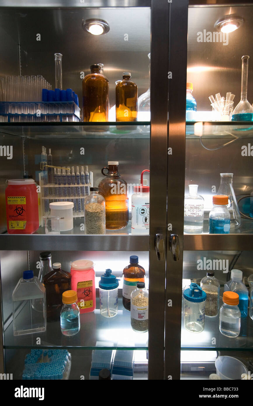 Cabinet with supplies in laboratory - Stock Image