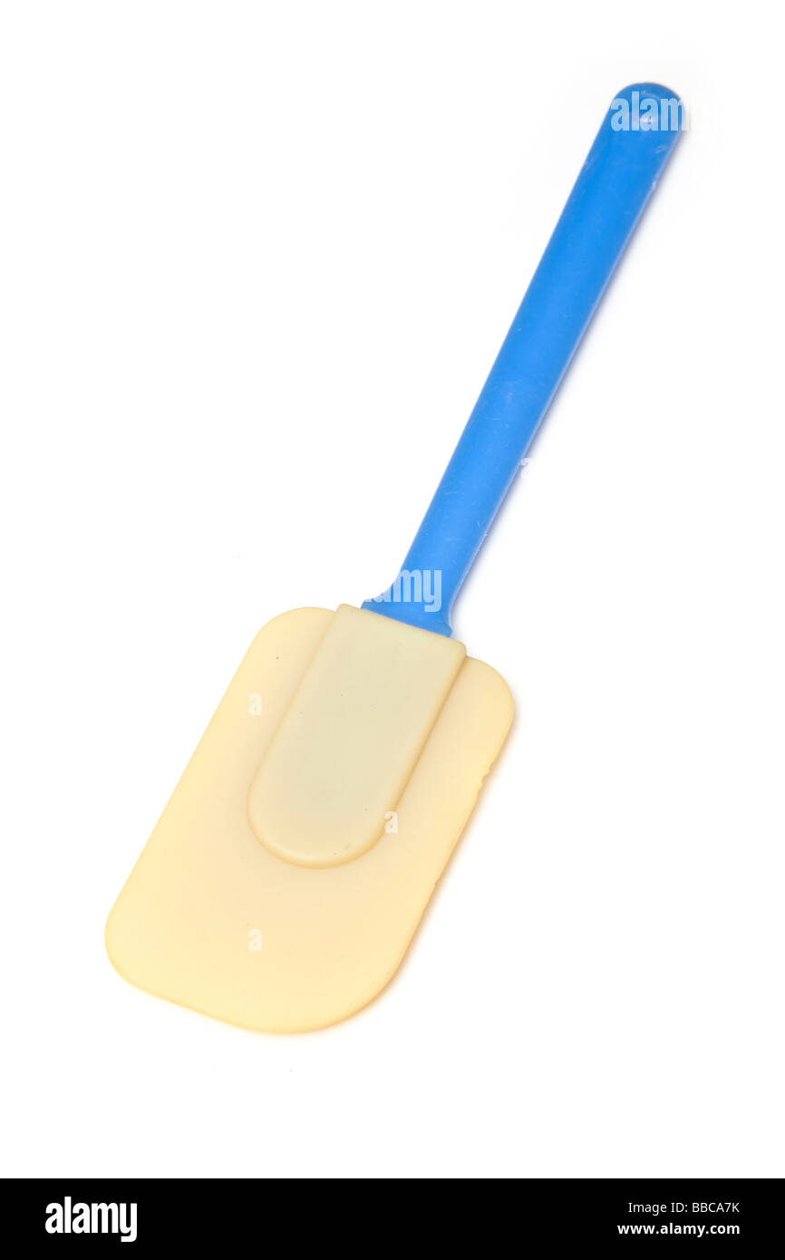 Plastic spatula isolated on a white studio background - Stock Image