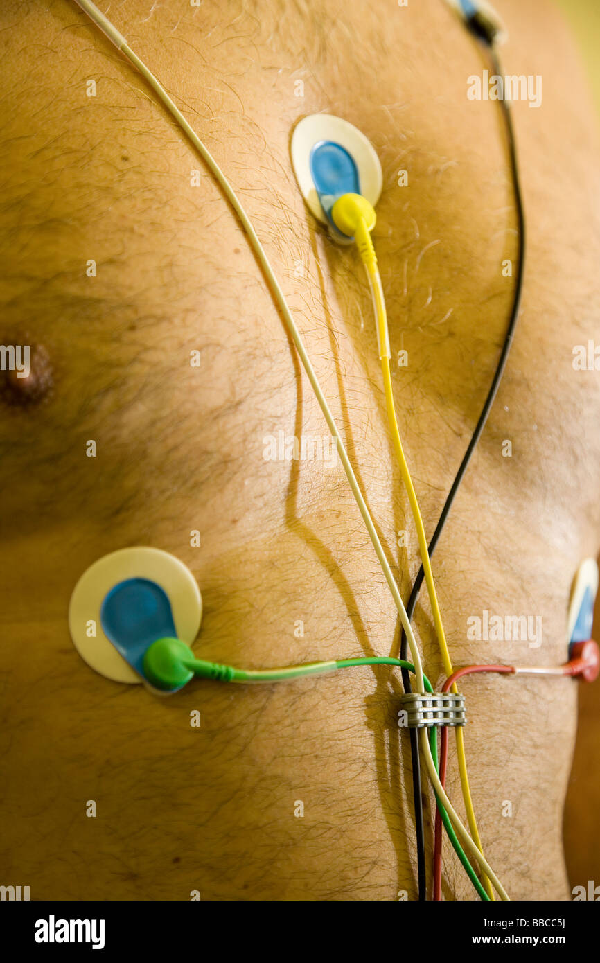 patient with electrocardiogram - Stock Image