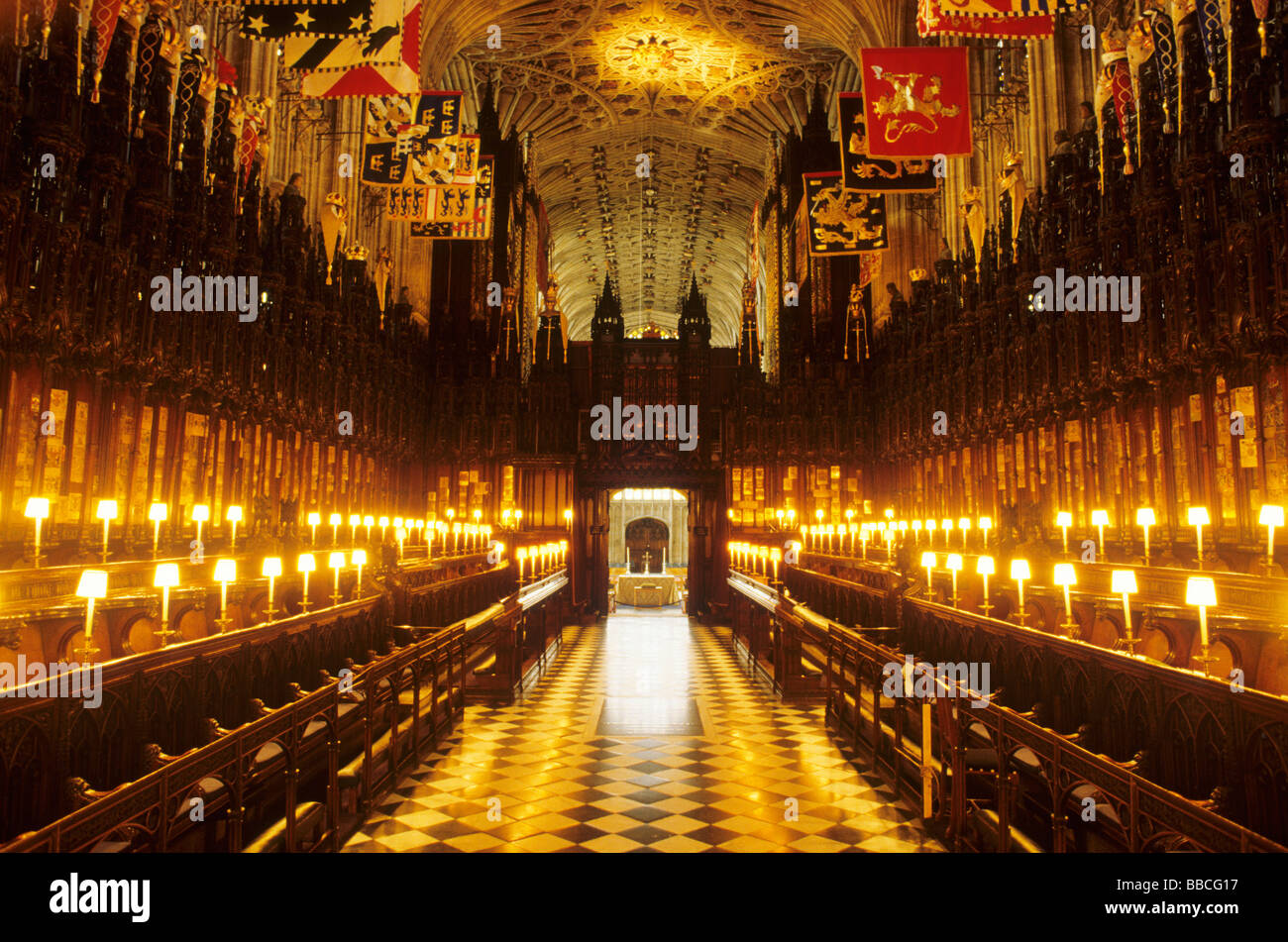St George S Chapel Windsor Choir Stalls Interior Candle