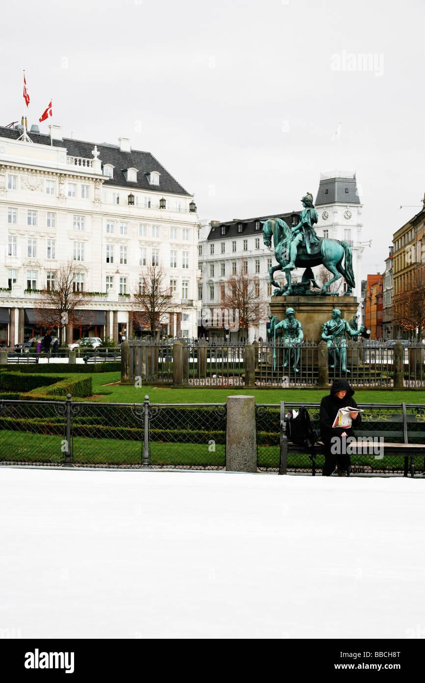 Kongens Nytorv Square, Christian V statue - Stock Image