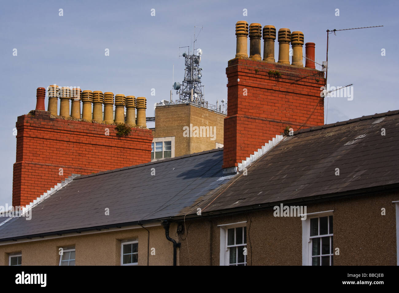 Roof tops with aerials - Stock Image