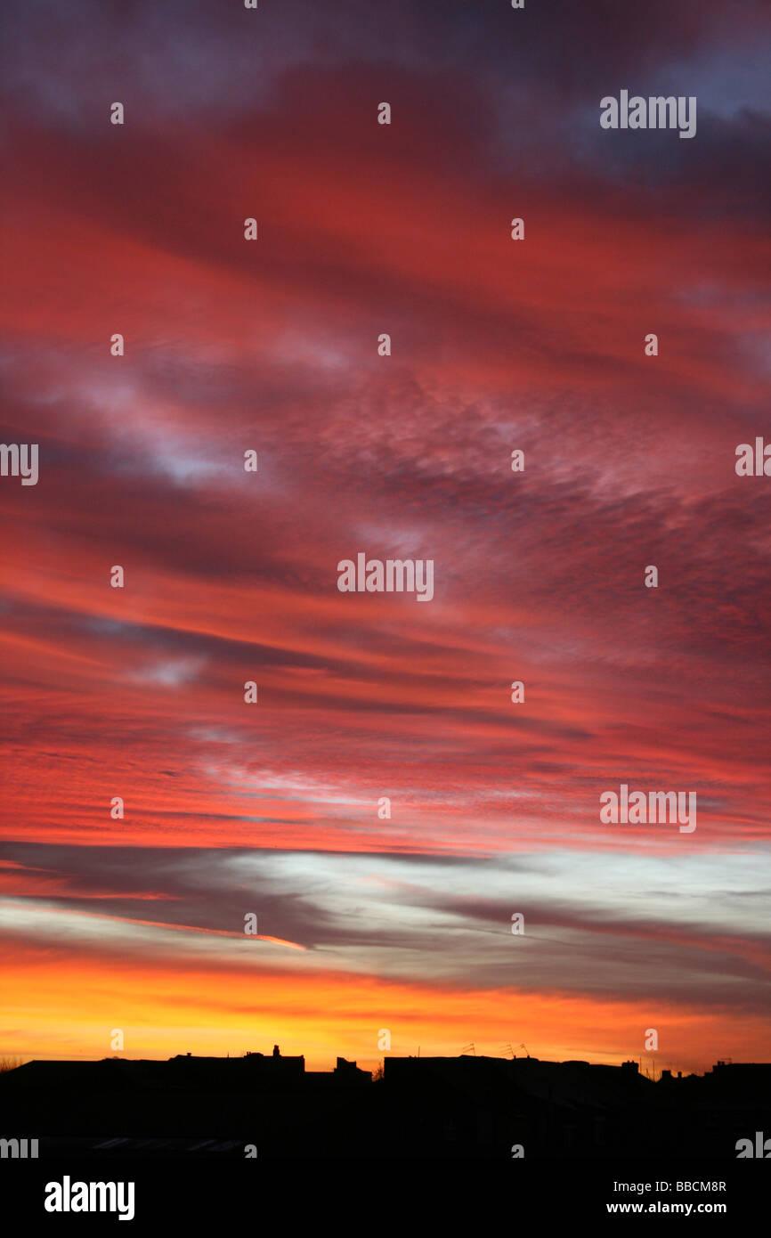 'Red Sky In The Morning, Sailor's Take Warning' Urban Winter Sunrise, Liverpool, Merseyside, UK - Stock Image