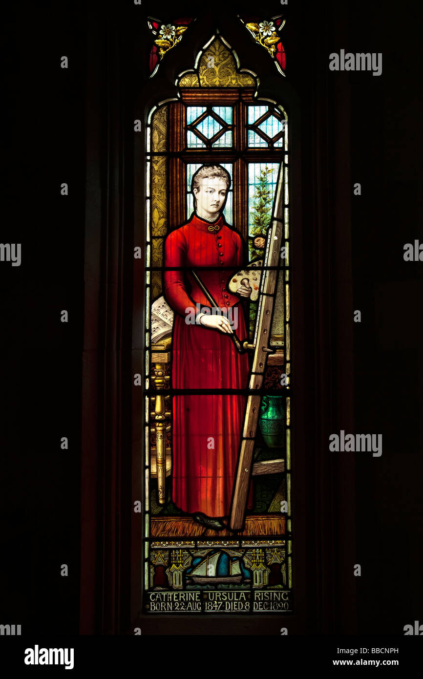 UK England Norfolk Horsey All Saints thatched parish church interior Catherine Rising memorial window Stock Photo