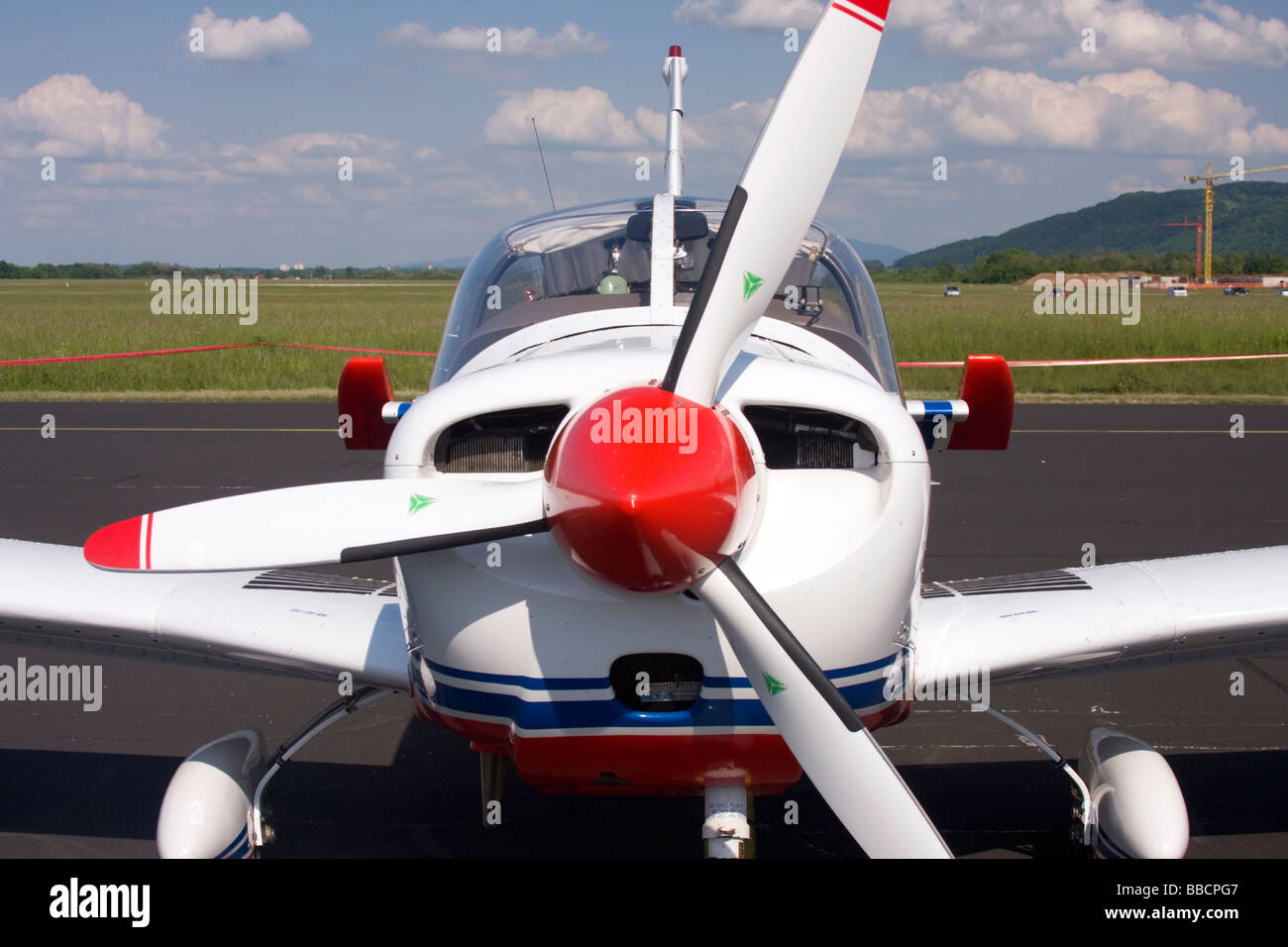 Front view of the light propeller plane Zlin. - Stock Image