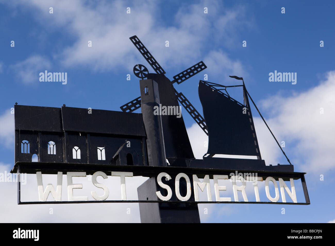 UK England Norfolk West Somerton Village name sign next to the staithe - Stock Image