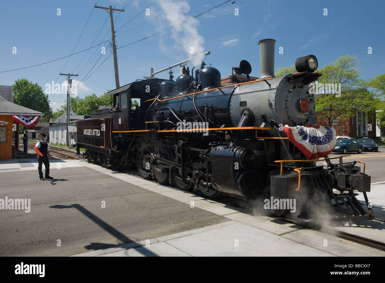 Steam excursion train Arcade and Attica Railroad leaving Arcade in western New York Wyoming County - Stock Image