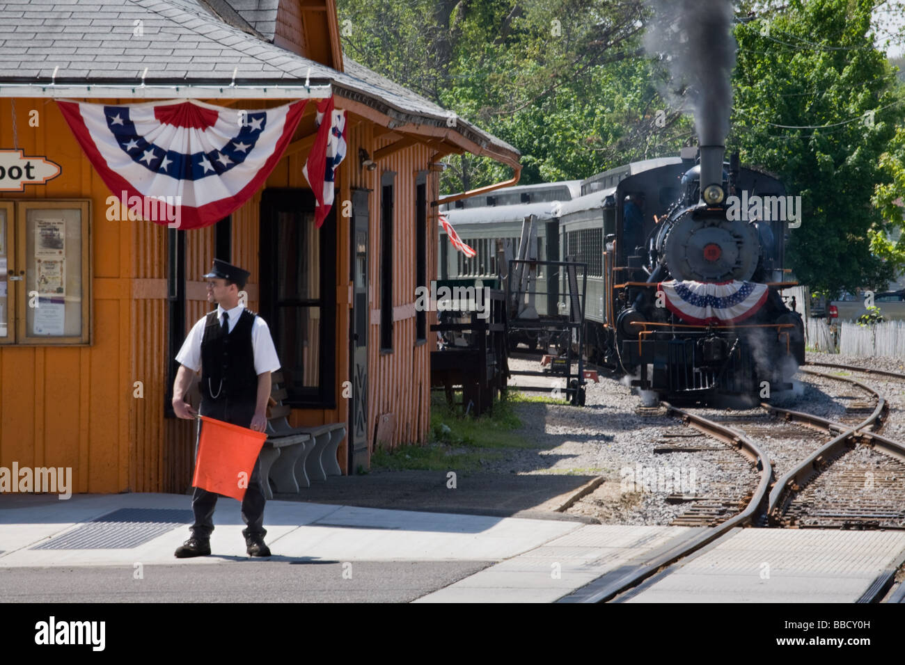 Steam excursion train Arcade and Attica Railroad leaving Arcade in western New York Wyoming County Stock Photo