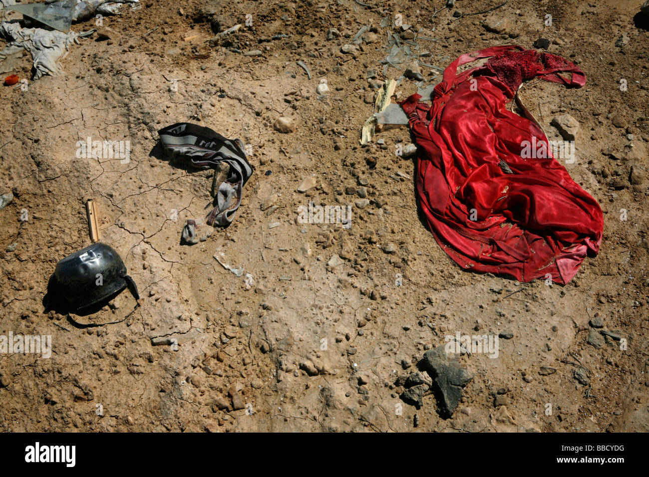 Possessions are left scattered on the ground after a house demolition in the village of Abdeh. Israel - Stock Image